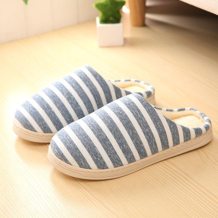 Slippers Striped Design Slip On Men Home Slippers Short Plush