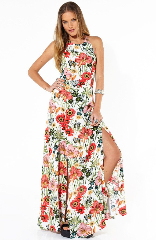 shopmarkethq - Bella Floral Split Maxi  Always feel like maxi dresses don't work on me cos i'm a shorty... But floral, halter and splits!