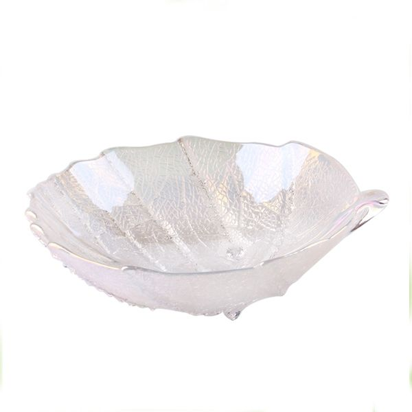 Silver leafy shape glass dried fruit bowl for sale