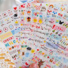 6 Листов разных дизайн Корейский Стиль Симпатичные Печать Жизнь Школьные Suppiles Diy Ноутбук дневник ПВХ Канцелярские Каваи наклейки(China (Mainland))