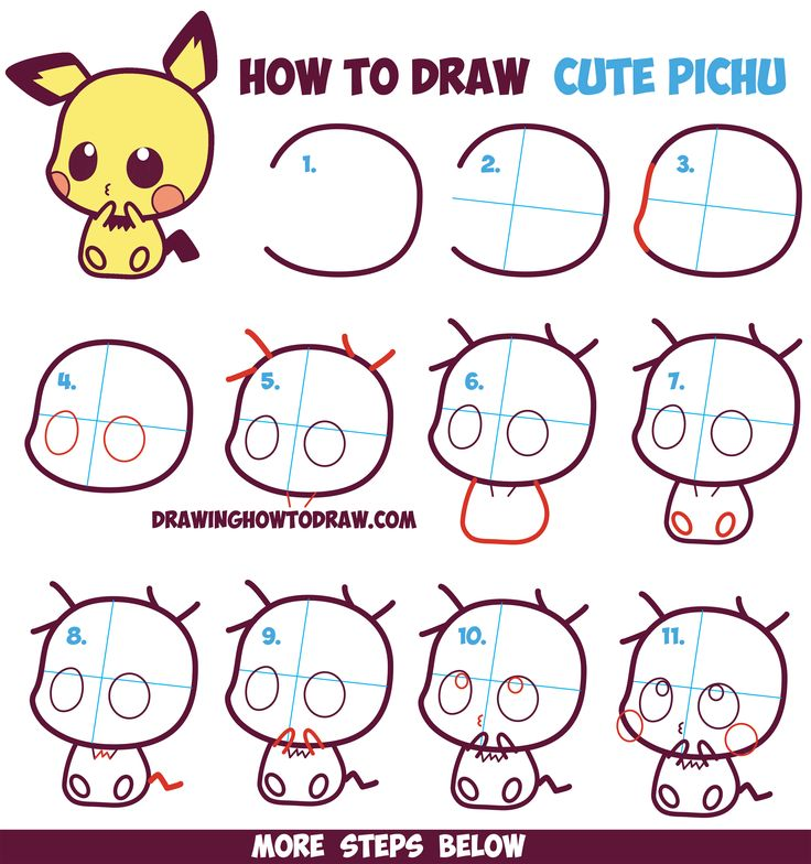 How to Draw Cute / Kawaii / Chibi Pichu from Pokemon in Easy Step by Step Drawing Tutorial for Kids and Beginners