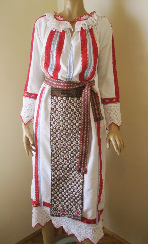 Vintage scarce Romanian traditional costume blouse and skirt from western Transylvania, BANAT folkoric region.  The costume is fabulous and very scarce ! www.greatblouses.com