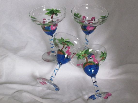 Hand Painted Margarita Glasses with Flamingos NEW by artisticangel, $48.00