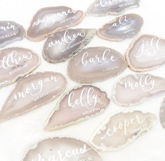 "White Light Grey Agate Slices Wedding Calligraphy Place Cards 2""-3.5""