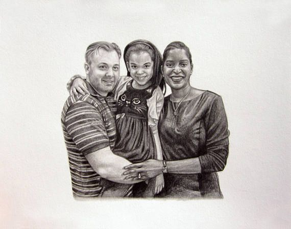 "Custom Portrait in Pencil, portrait from your photo file, couples portrait, anniversary portrait gift, family portrait, family of three, 11"" x 14"" paper, 8"" x 10"" drawing, horizontal"
