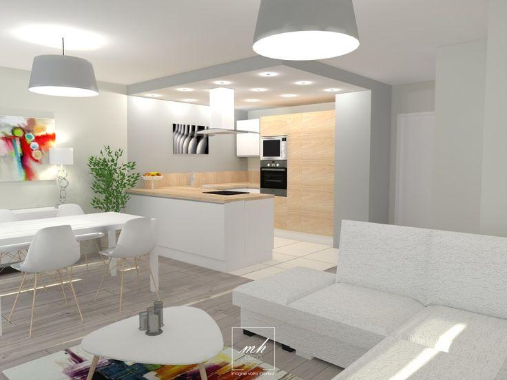 Tiphanie, #decoratrice à #Eaubonne transforme un salon - salle à manger en une pièce à vivre lumineuse et moderne. Une ouverture du type plan bar, apporte la convivialité manquante à l'espace