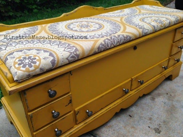 Cedar Chest Makeover by Minettes Maze - you should SEE the before!!!! Amazing transformation.