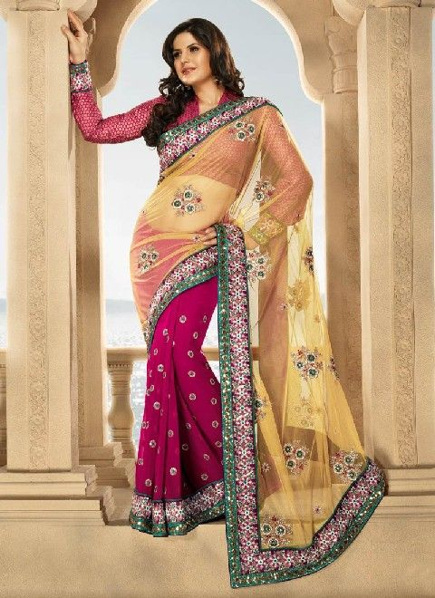 #Plain_chiffon_sarees are usually excellent choice pertaining to #summers and as well ooze out and about femininity. Whether going to an office, or to an elaborate evening party, or for some religious ceremony, or to the engagement party, etc