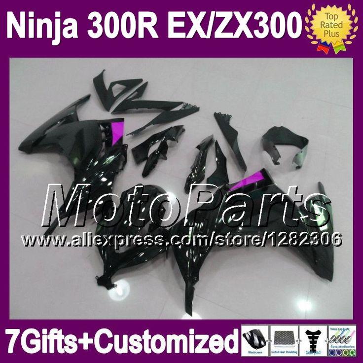 7 подарки + инъекции для KAWASAKI ниндзя 300 13 14 блеск черный * 2109 EX 300 EX300R 300R ZX300R mdr-ex300 фиолетовый blk зализа