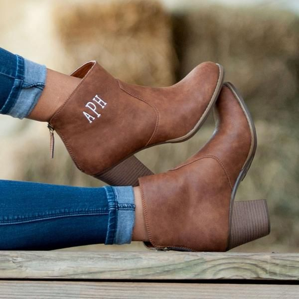 Trendy ankle boots just got trendier with the ability to add your monogram in any color. You will be reaching for these cute boots all season long.