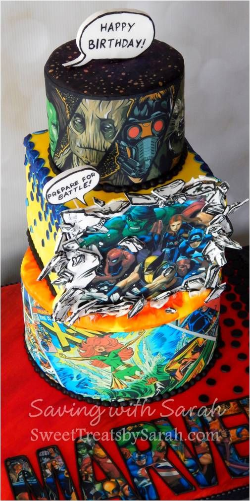 Marvel Cake Comic Book Cake Comic Book Birthday Super Hero Guardians of the Galaxy Avengers X-Men