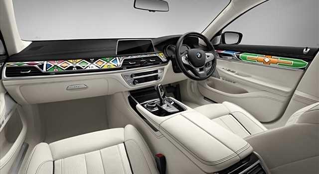 Esther Mahlangu, BMW Serie 7 740i, interior view