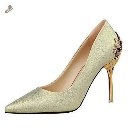 AdeeSu Womens Pull-On Charms Pointed-Toe Gold Microfiber Pumps-Shoes - 6.5