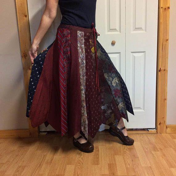 Lange rode rok/zijde stropdas rok/Womens binden rok/Mens stropdassen/Upcycled gerecycleerd voorzien kleding gemaakt van banden/grootte groot voor XL