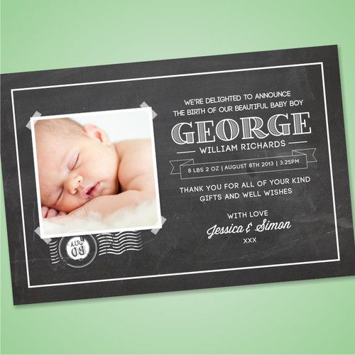 Personalised Photo Birth Announcement Thank You Cards - New Baby Boy | eBay