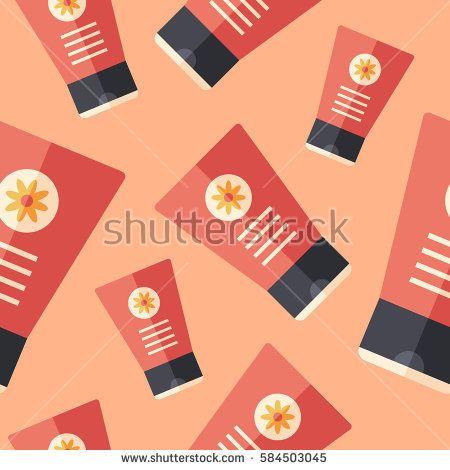 Hand cream flat icon seamless pattern. #beautypattern #vectorpattern #patterndesign #seamlesspattern