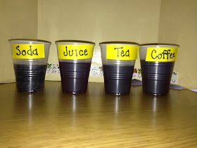 1st Grade Science Experiment ~ Which liquid stains your teeth the most?  Coffee, Tea, Grape Juice or Root Beer