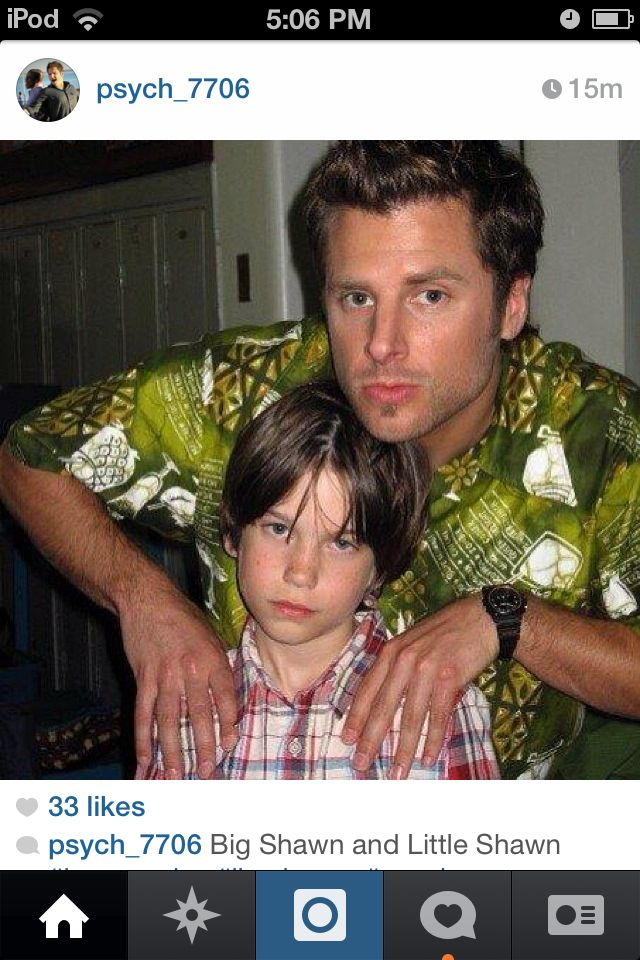 Young and old Shawn Spencer - I need to know why he has a crazy eye in this pic!