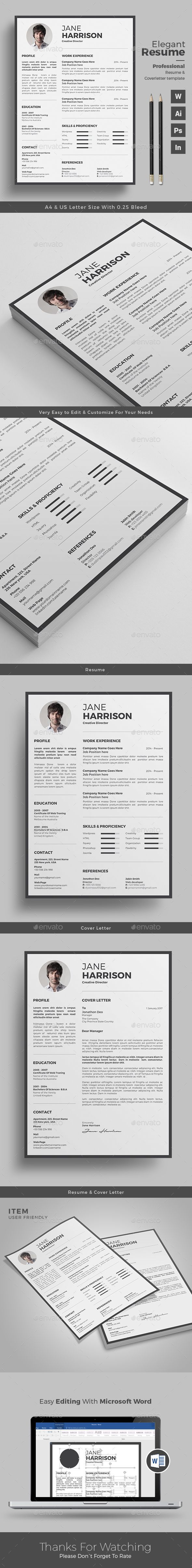 Clean Resume/CV by themedevisers Resume Word Template / CV Template with super clean and modern look. Clean Resume Template page designs are easy to use and custo