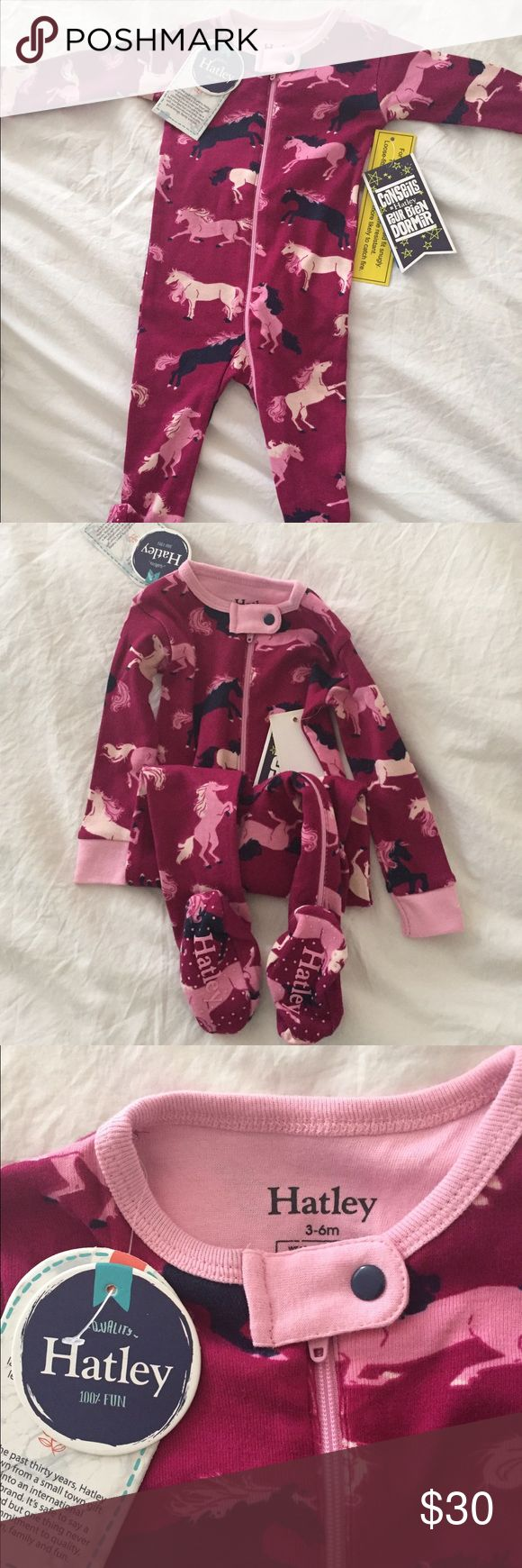 NWT Hatley Fairy Tale Horses Footed Coverall These soft and comfortable pajamas are easy to take on and off, and perfectly safe for your child. Hatley Pajamas