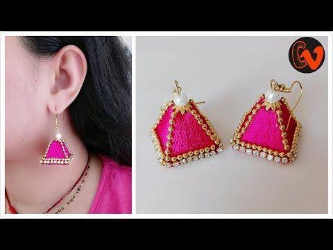 1cc67ec0bc209 How to make Pyramid Shape Earrings Tutorial / Silk Thread Earrings ...