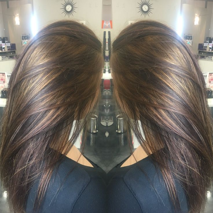 Carmel highlights on brunette hair!