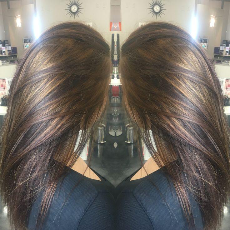 Carmel highlights on brunette hair!