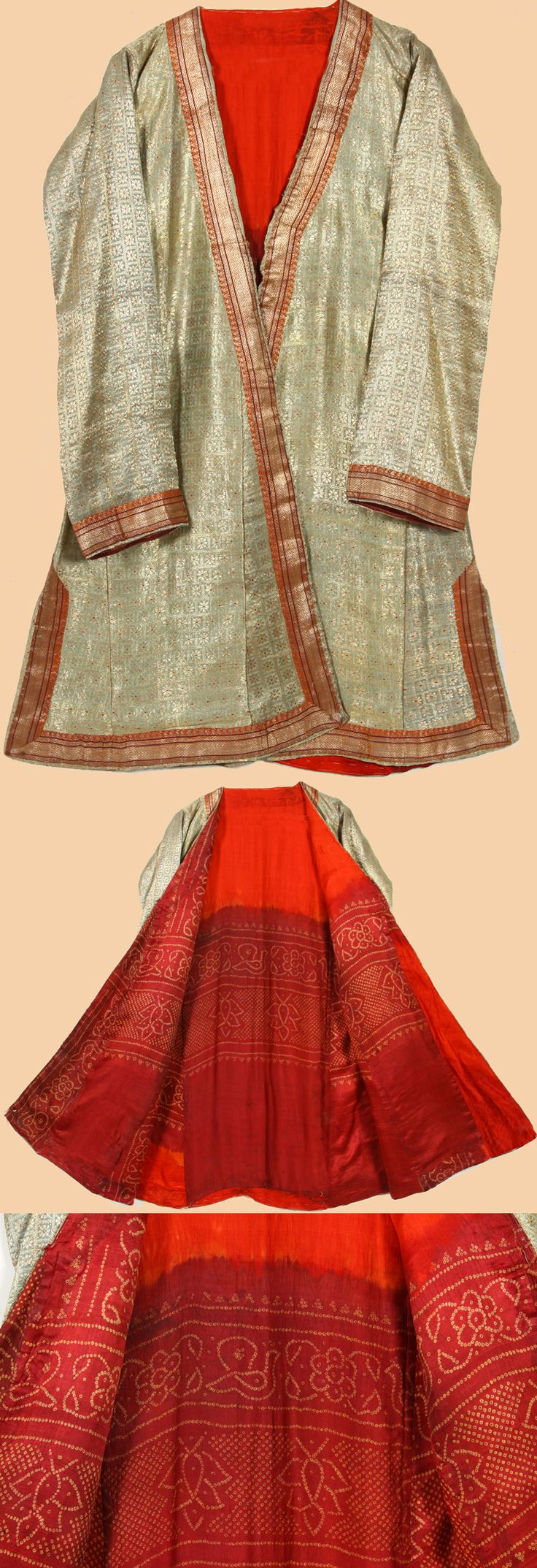 281 best fashion mughal images on pinterest indian textiles antique indian mughal robe silk brocade with silver thread 1800 1900 ad sciox Choice Image