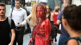 Human Statue Bodyart: Blood soaked Carrie turns CBD into horror movie se...