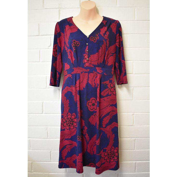 Leona By Leona Edmiston Dress Size 10 Navy Blue Red Buttons floral print | eBay