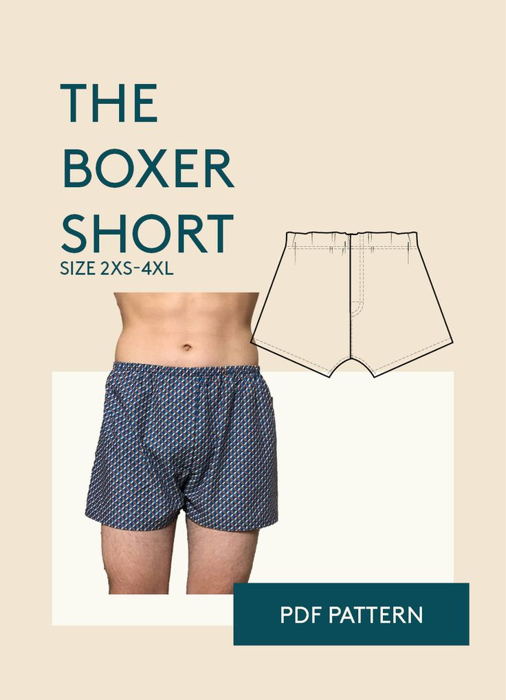 Boxer shorts underwear PDF sewing pattern for men. Classic fit. The front and back is cut in one piece, it's designed with a non functional decorative front fly