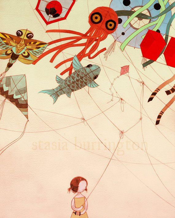 Il sagit dune pièce très personnelle, sur les relations et qui sort de votre cou. Jai toujours aimé la nature complexe, fragile et forte de cerfs-volants, en particulier celles du design japonais. Ils sont lumineux, lunatique, audacieux et beau, et je nai pas volé un dans... années !  Créé dans mon studio de Seattle, WA.  ♥ « Tangled » est imprimé en vibrant, archivistique encre Ultrachrome sur lush, sans acide fine art papier Hahnemühle et mesure 8 po x 10 po (20cm x 25,5 cm). Créé avec une…