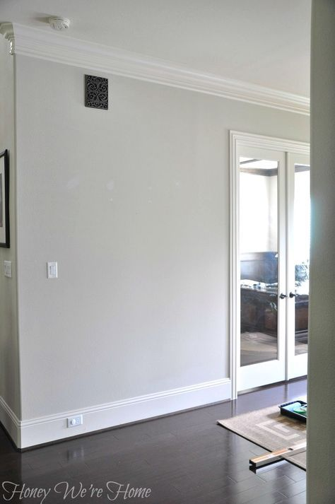 Sherwin Williams Agreeable Gray. Beautiful light warm gray paint color. Great open concept color. Honey We're Home
