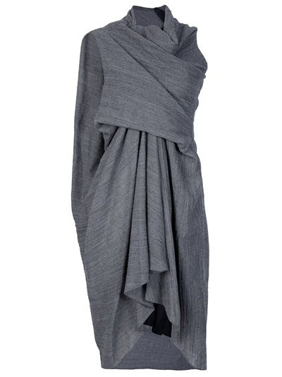 Grey wool asymmetric dress from Rick Owens featuring a draped and gathered front.