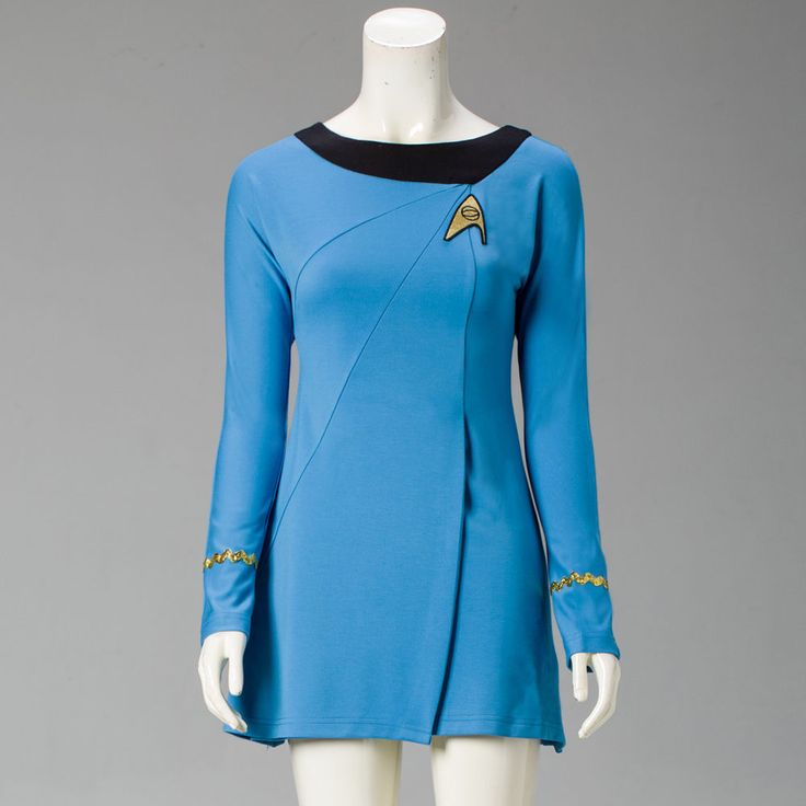 Classic Star Trek Female Duty TOS Blue Uniform Dress Cosplay Costume Adult #Handmade #Dress #PartyHalloween