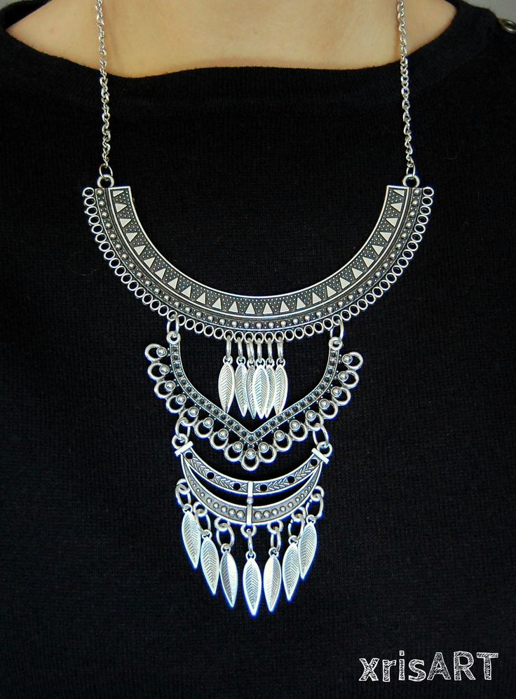 Silver Statement necklace in boho style with feathers