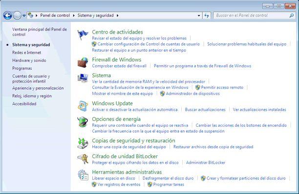 Qué es el Panel de control de Windows 7 y qué hay en él: Sistema y seguridad