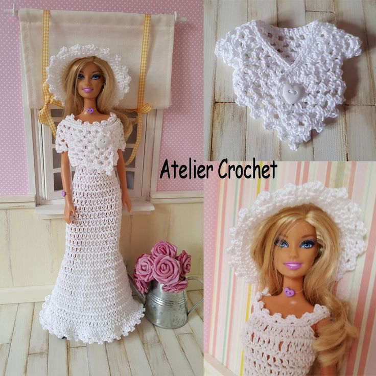 134- FICHE PATRON CROCHET Robe de mariée pour poupée Barbie : Jeux, jouets par atelier-crochet