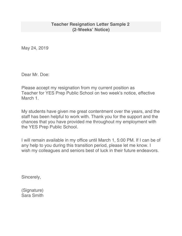 47++ Resignation letter for teacher job inspirations