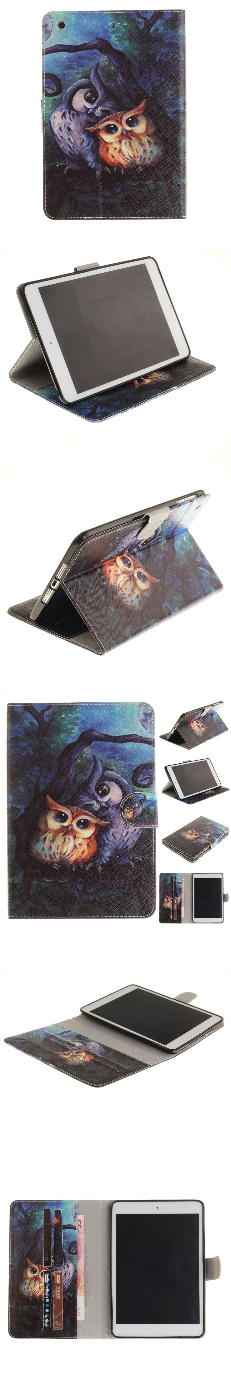 New Kid Cases for iPad Mini 3 2 1 Cute Owl Flip Folio PU Leather Case Cover for iPad Mini 3 2 1 Conque Capa with Card Slot