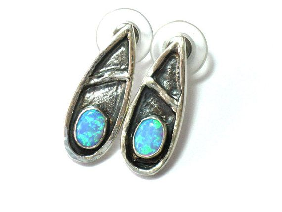 Teardrop Studs-Silver Opal Studs-Sterling Silver Earrings-Teardrop Earrings-Silver Posts-Blue Opal Earrings-Oval Opal stones-Artisan jewelry on Etsy, $70.00