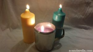 Kink Craft Wax Play Candles in yellow & turquoise, Wax Play Jug in black.