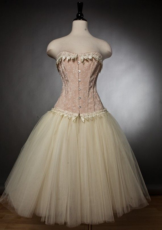 Custom Size Peach and ivory lace burlesque corset by Glamtastik, $275.00