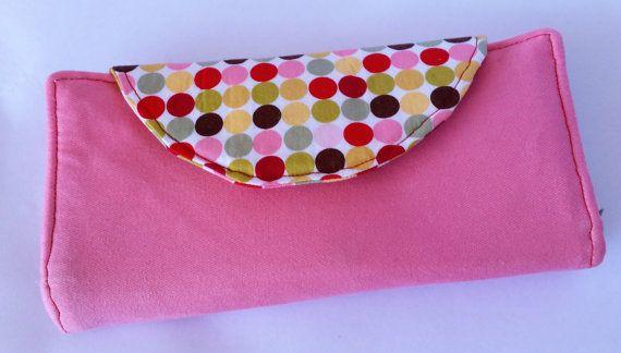 Pink with dots Fiona wallet a Clobird Design pattern