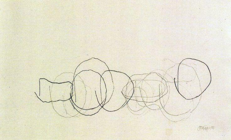 John Cage Ryoanji 17 February 1988 [pencil on Japanese handmade paper]