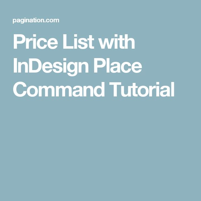 Price List with InDesign Place Command Tutorial