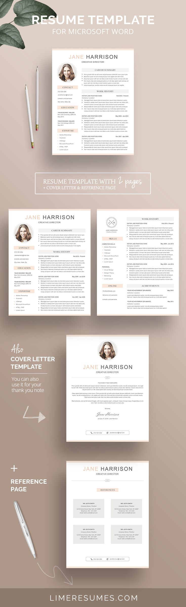 Modern resume template with photo. Easy to edit with Word. Comes with matching cover letter and reference page. 1 & 2 page resume. Instant download.