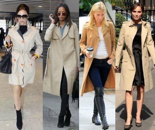 С чем носить пальто тренч