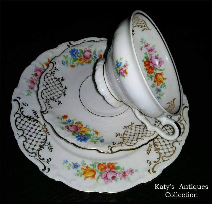 PM&M – Germany, Bavaria, Schirnding Porcelain A.G. tea cup, saucer and plate,  c. 1956 - 1974.