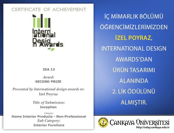 İç Mimarlık Bölümü öğrencimizlerimizden İzel Poyraz, International Design Awards'dan Ürün Tasarımı alanında 2.lik ödülünü almıştır.  #InternationalDesignAwards #UrunTasarimi #izelPoyraz